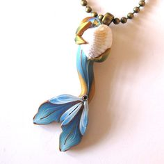 Mermaid Tail Necklace in Dusky Blue by Claybykim on Etsy, $15.00
