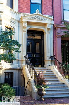 "georgianadesign: ""Catherine & McClure Interiors renovation of a traditional Boston brownstone. New England Home. House Entrance, Grand Entrance, Boston Brownstone, Condo Living, City Living, Living Spaces, The Door Is Open, Brick Facade, New England Homes"