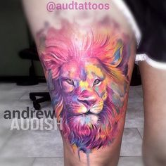 "@darkheartstattoo's photo: ""Another amazing watercolor style lion portrait done…"