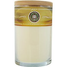Massage & Intention Soy Candle 12 OZ Tumbler. A Blend Of Lavender, Bergamont & Ylang Ylang With A Lepidolite Gemstone. Burns Approx. 30+ Hours