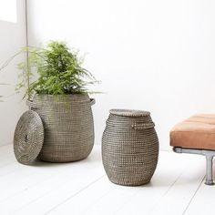 That is the Effect baskets set from Danish House Doctor! The House Doctor Effect baskets are fun to use as storage or turn into a plant holder. Set of two baskets. Black Laundry Basket, Bathroom Laundry Baskets, Bathroom Small, Basement Bathroom, Bathroom Ideas, House Doctor, Natur House, Basket Weaving, Hand Weaving