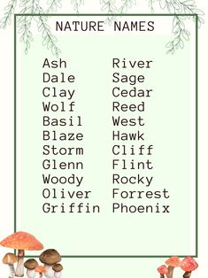 Pretty Names, Cute Baby Names, Unique Baby Names, Kid Names, Name Inspiration, Writing Inspiration, Book Writing Tips, Writing Prompts, Nature Names
