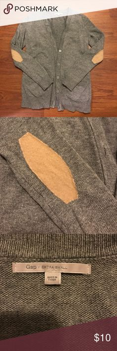 Gap Elbow Patch Cardigan Cute grey sweater with tan elbow patches. Gap brand size XS. Some pilling along hem & underarms shown in last pic. GAP Sweaters Cardigans