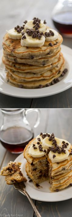 Banana Chocolate Chip Pancakes - the perfect breakfast or brunch! (Or if you are feeling really adventurous for dinner:) #breakfast #brunch #pancakes