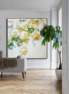 CZ Art Design - Hand painted Large Floral Oil Painting on canvas, Abstract art. @CelineZiangArt #abstractart