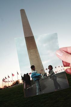 Monumentu a George Washington. Time travel in a photo