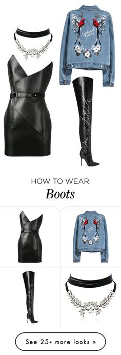 """Rock vibess!! #Black #Dress #Boots #Party #Grunge"" by nelarose on Polyvore featuring Yves Saint Laurent, Vetements and WithChic"