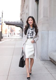 trench coat + pencil skirt // business casual work outfits for petite women