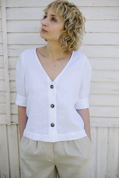 Item: Handmade and made to order Color: White Style: Casual Fit: Relaxed Neckline: Deep V-neck Closure: Button Sleeve length: Elbow length sleeve Material: Linen Shorts Outfits Women, Short Outfits, Linen Blouse, V Neck Blouse, Short Tops, Shirt Blouses, T Shirts For Women, Clothes For Women, Casual