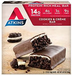 Atkins Protein-Rich Meal Bar Cookies n' Crème Keto Friendly 5 Count Atkins Snacks, Atkins Recipes, Atkins Diet, Atkins 40, Atkins Protein Bars, Atkins Bars, Chocolate Crunch, Chocolate Chip Cookie Dough, Protein Cookies