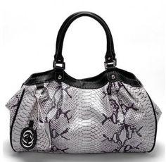 Gucci Handbags,Gucci Sukey Snake Leather Medium Tote Handbag Cream