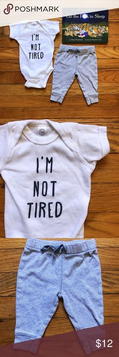😴 I'm Not Tired 2pc Bundle Printed on Rabbit Skins onesie; 100% cotton. Could fit NB through 3mo. Slight yellow stain on one shoulder (pictured). Grey and white lounge pants in EUC. Carter's One Pieces Bodysuits