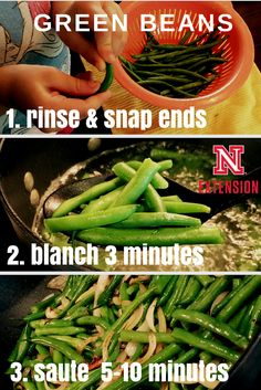 3 simple steps to using fresh green beans. Saute onions first for extra flavor. #nebext