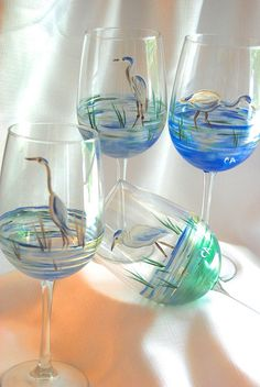 Hey, I found this really awesome Etsy listing at https://www.etsy.com/listing/191578473/hand-painted-wine-glasses-blue-heron-set