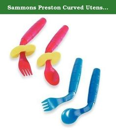 """Sammons Preston Curved Utensils, Left-handed Utensils. Angled utensils promote greater success with hand-to-mouth feeding. Curved utensils designed by an OT. For right- or left-hand use. Built-up 3"""" long handles are the perfect size for children. Safety Shield prevents utensil from entering mouth too deeply. Dishwasher safe. Sorry, no color choice. BPA, Phthalates and Latex free."""