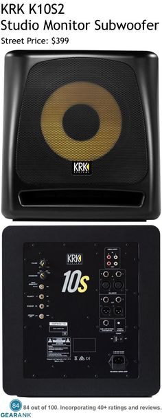"""KRK K10S2 Studio Monitor Subwoofer.  Features:  Frequency Response: 28Hz-156Hz - Crossover: 60Hz/70Hz/80Hz/90Hz - Max SPL: 117.2 dB - Power Rating: 160 Watts - Driver: 10"""".  For a Detailed Guide to The Best Studio Subwoofers see https://www.gearank.com/guides/studio-subwoofers"""