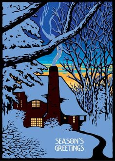 The Gloaming, Laura Wilder holiday card Cabin back lit by sunset on a winter night Linocut Prints, Art Prints, Block Prints, Giclee Print, Whatever Forever, Winter Art, Winter Night, Art For Art Sake, Arts And Crafts Movement