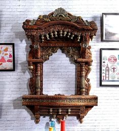 Home Discover Buy Solid Wood Jharokha in Brown Colour by Dream Arts Online - Jharokhas - Wall Accents - Home Decor - Pepperfry Product Balance Design Ethnic Decor Pooja Rooms Dream Art Door Design Solid Wood Pooja Mandir Wood Carvings Jewellery Designs Wooden Temple For Home, Temple Design For Home, Altar, Pooja Room Design, Balance Design, Ethnic Decor, Design Your Dream House, Pooja Rooms, Mural Wall Art