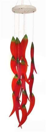 Sandblasted hand cut glass Chili Peppers Wind Chime hang from wood canopy. Handcrafted by artists in Bali. Wood Canopy, Glass Art Pictures, Wind Sculptures, Glass Wind Chimes, Sandblasted Glass, Southwest Decor, Seashell Crafts, Stained Glass Patterns, Cut Glass