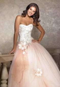 2a9b5ec2f5a0 Strapless Ball Gown with Lace Embroidery and 3-Dimensional Floral Details Tulle  Prom Dress,