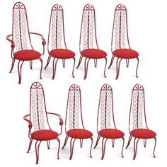 Whimsical Iron Scroll Chairs | red modern furniture