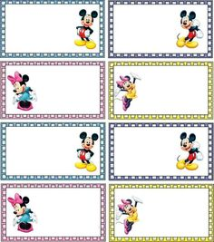 Mickey Mouse Classroom, Disney Classroom, Mickey Mouse Birthday, Name Tag For School, School Name Labels, Disney Scrapbook, Scrapbooking, Notebook Labels, Page Borders Design