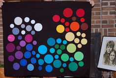 """Robert Kaufman challenge quilt by Heather at the Baltimore Modern Quilt Guild: """"Our guidelines were to use every color (at least a little bit), use only solids, and do something that's not typical for you."""""""