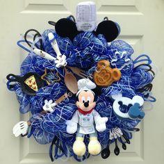 Chef Mickey Kitchen wreath in blue! Custom order - $159
