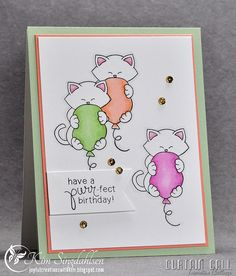 Curtain Call: Purr-fect Birthday from Joyful Creations with Kim using stamps from Newton's Nook.