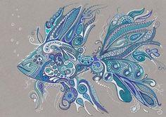 Lwick Original Ink Zentangle Doodle Design Water Ocean Animal Fish Pretty | eBay