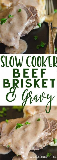 This Slow Cooker Brisket and Gravy can be done in the oven or a slow cooker. A four ingredient recipe from my grandmother's archives! via @gogogogourmet
