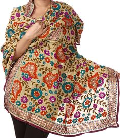 Beige Phulkari Dupatta from Punjab with Ari-Embroidery by Hand, Stoles and Shawls Chiffon Phulkari Embroidery, Indian Embroidery, Hand Embroidery, Indian Fabric, Indian Textiles, India Fashion Week, Asian Fashion, Indian Dresses, Indian Outfits