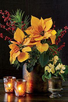 Gold Poinsettia Flower Arrangement