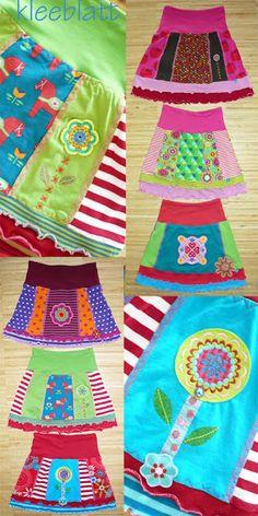 """kunterbunteskleeblatt hat gleich sechs fröhlich bunte Röcke nach dem Ebook """"Jolly"""" genäht. Jolly ist fix genäht und eignet sich durch die Möglichkeit zum Patchen perfekt für den Stoffreste-Abbau. Im Herbst toll mit Leggings oder dickerer Strumpfhose! Ähnliche Beiträge"""