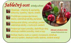 "Jablečný ocet - pravda a lež o tomto ""léku"" Beauty Detox, Health And Beauty, Bento, Dieta Detox, Natural Health, Diabetes, Crockpot, Food And Drink, Health Fitness"