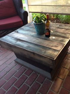 Pallet wood or fence slat fire pit table cover. Great for summer when you no longer need the fire;) Cost: free or under $10!