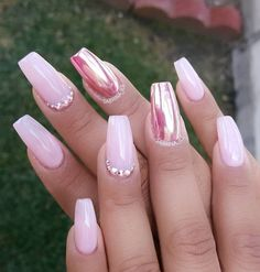 Pink chrome accent nail with Swarovski crystals; start creating your nails at https://www.instagram.com/p/BH2gd81jtYn/. Nails by @sabrina_ils. Nail Design, Nail Art, Nail Salon, Irvine, Newport Beach