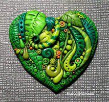 Polymer Clay Heart Enchanted Forest by MandarinMoon
