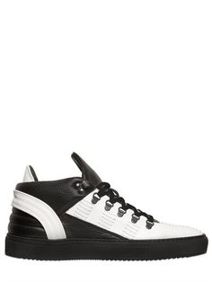 FILLING PIECES STITCH PEBBLED & SMOOTH LEATHER SNEAKERS, BLACK/WHITE. # fillingpieces #