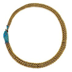 Mann's Jewelers - A fine antique gold box chain in the form of an Ouroboros snake with a pavé turquoise head and tail embellished with diamonds and ruby eyes, in 18k.  (=)