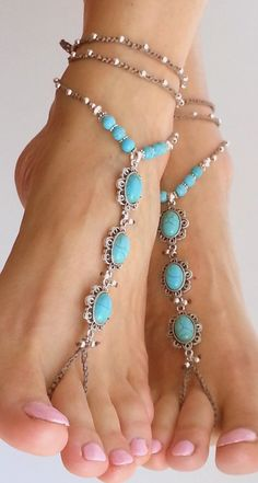 Beach wedding barefoot sandals. Blue turquoise stone. Hippie sandals BOHO Bridal…