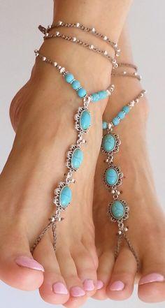 Beach wedding barefoot sandals. Blue turquoise stone. Hippie sandals BOHO Bridal…