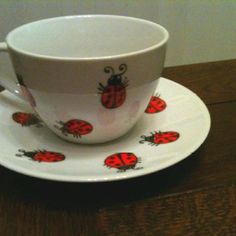 Ladybird hand-painted cup & saucer (I usually make things to give away as gifts, but I kept this one!)