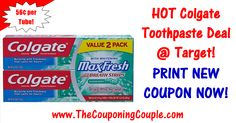 ***NEW COUPON = CHEAP COLGATE TOOTHPASTE @ TARGET*** Just 56¢ per Tube for Colgate Max Fresh Toothpaste! Click the link below to get the BREAKDOWN and DIRECT LINKS to the coupons ► http://www.thecouponingcouple.com/hot-colgate-toothpaste-deal/  #Coupons #Couponing #CouponCommunity  Visit us at http://www.thecouponingcouple.com for more great posts!