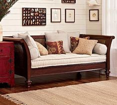 Pottery Barn: Montego Sofa (discontinued) daybed style great for an office/multipurpose room Sofa Set Designs, Wooden Sofa Designs, Wooden Sofa Set, Living Room Sofa, Living Room Decor, British Colonial Decor, Multipurpose Room, Home Decor Bedroom, Home Decor Styles