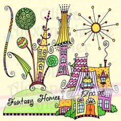 Verkauf Fantasy Häuser herunterladbaren ClipArt  von atelieroz