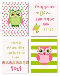 Dr Seuss Green and Pink Nursery decor Owl print - Today you are you, that is truer than true.There is no one alive that is youer than you. by ThePurplePrint on Etsy