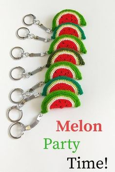 Your birthday party, One in a melon first birthday or just summer party will be remembered as the best season event if you cheer guest's up with funny and cute favors – crocheted watermelons keychains! ideas for 6 year olds Crochet Food, Crochet Gifts, Crochet Baby, Crochet Stitches, Crochet Patterns, First Birthday Favors, Watermelon Birthday Parties, Crochet Keychain Pattern, One In A Melon