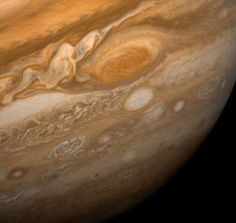 Jupiter's Great Red Spot, 1979  This dramatic view of Jupiter's Great Red Spot and its surroundings was obtained by Voyager 1 on Feb. 25, 1979.