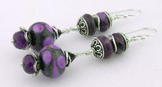 Black purple lampwork amethyst charoite sterling #handmade #earrings @cserpentDesigns